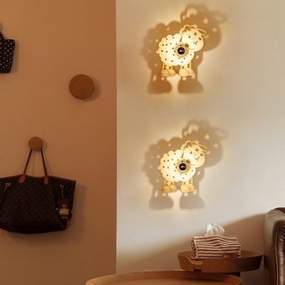 Modern Style Sheep Design Ambient Light Wooden Wall Sconce for Kids Room 11.81