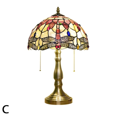 Natural Shell Handmade Tiffany Table Lamp with Antique Brass Base and Hanging Chains