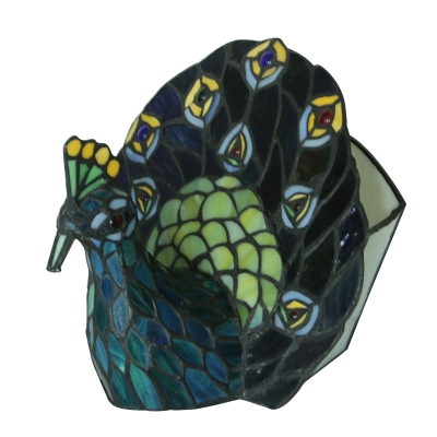 Tiffany Stained Glass Blue Peacock  Table Light with Colorful Brilliant Beads