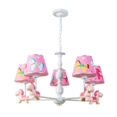 Blue/Pink Cartoon Horse Lighting Fixture Fabric Shade 3/5 Lights Suspension Light for Kindergarten
