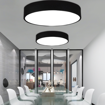 Contemporary Acrylic Lampshade Black Finish Bright and Cool White Light Flush Mount Kitchen Lighting Led Circle Ceiling Lights Round Flush Mount Led Lighting 12W-48W for Bedroom Office Hallway Different Size Available