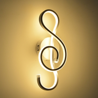 Contemporary Style Music Note Design LED Wall Sconce Light in Black/White for Hallway