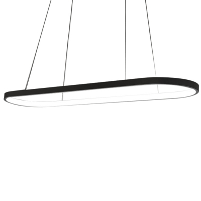 Fashion Modern Simple Style Ellipse Shaped Led Chandelier Deocrative Lights 36W/50W/64W Aluminum Oval Ring Pendant Lighting for Dining Room Office Meeting Room Stores