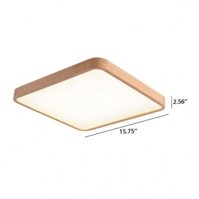 Flush Mount Home Fixture Lamp Wooden Frame Led Rectangular Ceiling Lights 11.8