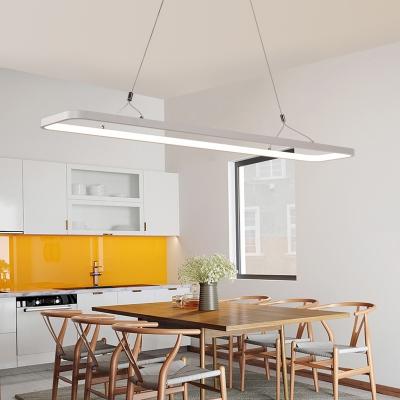 LED Direct Indirect Lighting Hallow Rectangle Led Pendant Lighting White 33W/46W, 3000K/4500K/6500K Acrylic Rectangular Chandelier Led for Office Kitchen Dining Room
