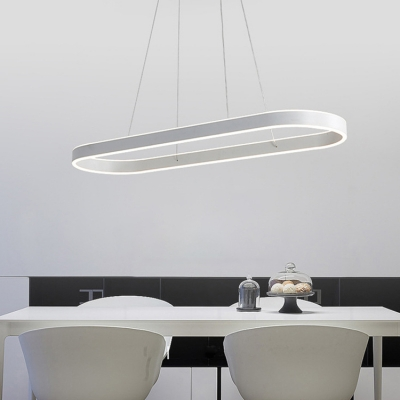 Modern Island Chandelier LED Up Light Down Lighting Acrylic Lampshade 31.5in/39.5in/47in Long Ellipse Shaped Hanging Lights in Acrylic White for Kitchen Dining Room Conference Room