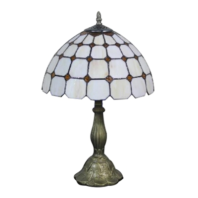 Simple Tiffany Dome Shade Table Lamp with White Art Glass