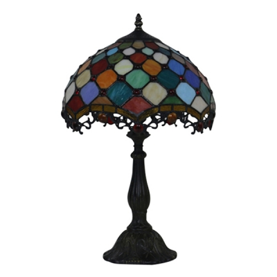 Dome Shade Multi-Colored Small Circle Pattern Tiffany-Style Stained Glass Table Lamp