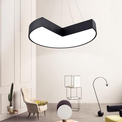 Modern Decorative Led Chandelier Round Eclipse Pendant Light Fixtures Metal Acrylic High Performance 30w