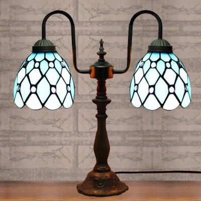 Orange/Blue Shade 16 Inch Two Lighted Buffet Table Lamp in Tiffany Stained Glass Style