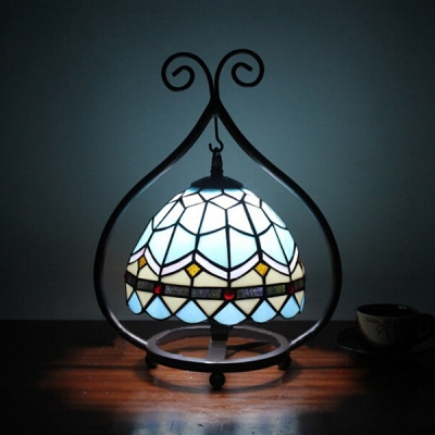 Rustic Style Wrought Iron Frame Accent Table Lamp with Tiffany Stained Glass Dome Shade