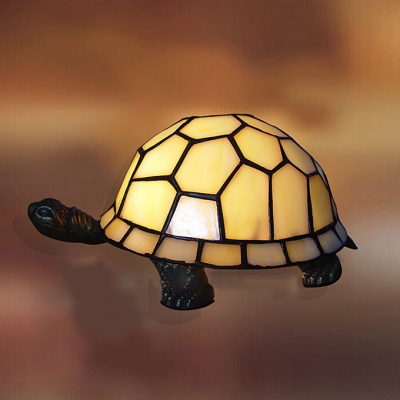 5 51 W Tortoise Shaped Shade Tiffany Style White Glass Table Lamp
