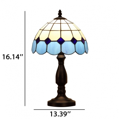 Dome Shade Table Lamp with Yellow/Blue Glass Shade in Tiffany Style