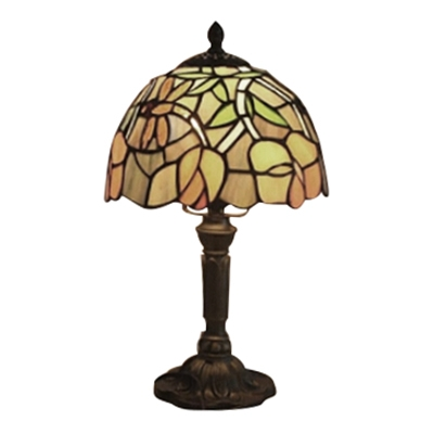Stained Glass Flower Patterned Mini Table Lamp with Bronze Lamp Base