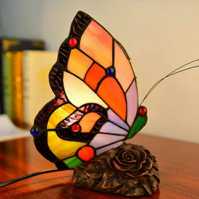 Tiffany Stained Glass Butterfly Design Mini Night Light Accent Table Lamp for Kids Room