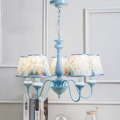 5 Lights Shaded Chandelier Light Boys Girls Bedroom Fabric Suspended Lamp in Sky Blue/Green