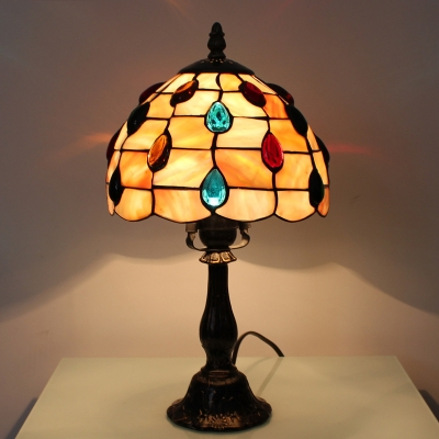 Tiffany Style Multi-Colored Jewels Series Table Lamp with Dome Glass Shade