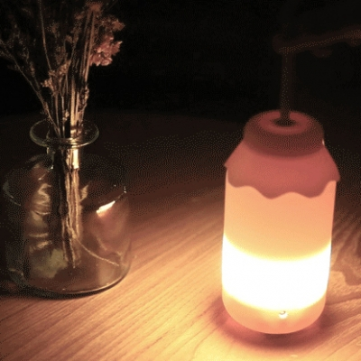 Modern Style LED Kids Bottle Shape Table Light in Blue/Pink with Handle