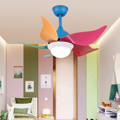Modern Style LED Light Multicolored Ceiling Fan with White Glass Shade 36