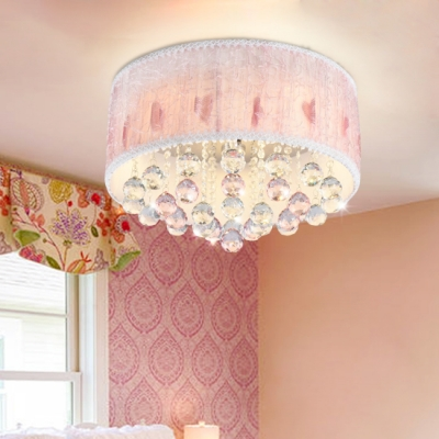 Crystal Accent LED Flush Mount Ceiling Light with Fabric Shade for