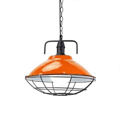 Multicolors Modern Dome Shade 1-Light Pendant Lamp with Iron Cage for Dining Room Restaurant 11.02