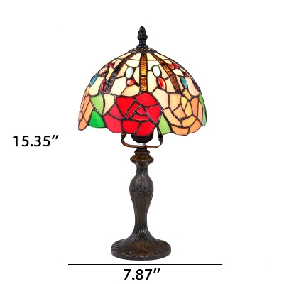 One Light Tiffany Art Glass Dome Shade Table Lamp in Various Pattern Designs