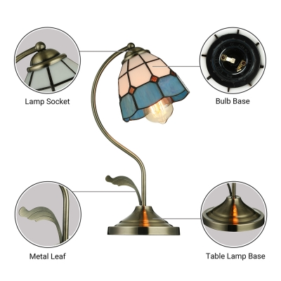 Tiffany Stained Glass Style Flower Shape Table Lamp with Bent Arm and Leaf
