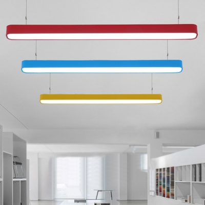 Decorative Office Meeting Room Multi-color Round Corners and Linear Frame Led Linear Fixture 18W Super Slim Linear Hanging Lighting in Yellow/Blue/Red Finish with Adjustable Cord