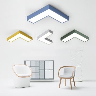 Multi-color Modern Design Led Arrow Shaped LED Ceiling Light 10.23in/13.77in Wide Metal Low Wattage 14/20W Geometric Flushmount Light LED for Super Mall Hallway Pathway Gallery Kindergarten in Blue/Green/Yellow/Gray
