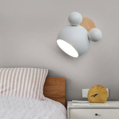 Metallic Wall Sconce with Cartoon Design Macaron Green/Pink/White 1 Light Wall Mount Light