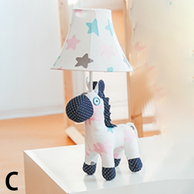 Bell Table Light with Fabric Cartoon Horse Base Bedroom Bedside 1 Lights Standing Table Lamp in White Finish