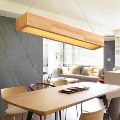 Modern Chandelier Lighting Office Study Room Led Linear Pendant In Oak 5 8 12w 23 6 Quot 35 4 Quot 48