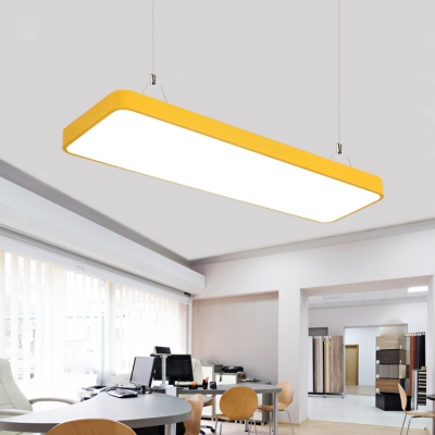Multi-color Rectangular Led Linear Pendant 36/54W, 3700K-6500K, 48 Inch Long Aluminum Acrylic Lampshade Hanging Lighting for Office Room Workshop Kindergarten Hallway