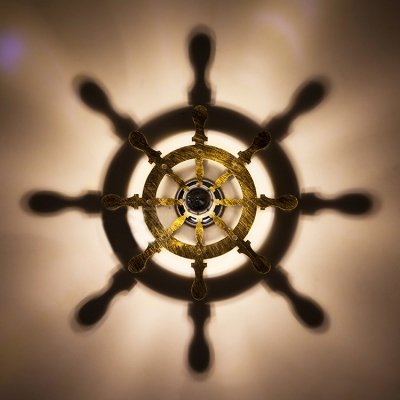 Nautical Style Ambient Light Wall Sconce Fixture in Wooden/Mottled Rust Iron Finsh 4 Designs for Option