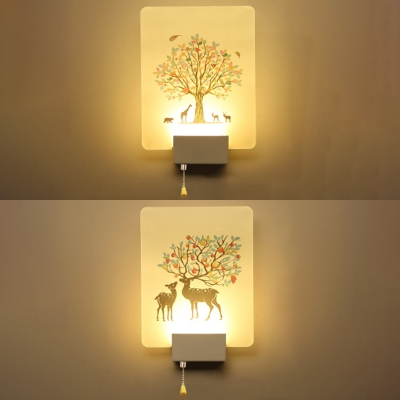 Simple Rectangular Shade Led Bedroom Wall Lamp In Nature Inspired