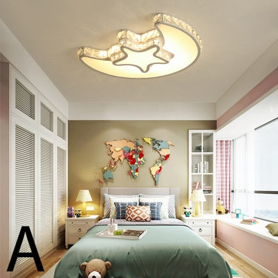 Crystal Accent Style LED Light Living Room Flush Mount Ceiling Light 4 Designs for Option