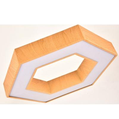 Led Direct Indirect Lighting Walnut Hexagon Shaped Ceiling Flush Light 15.75