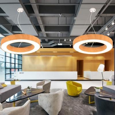 Modern Circle Metal Chandelier Lighting Glare Control 15.75