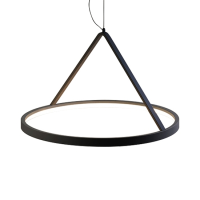 Modern Glare-free Illumination Black/White Round Chandelier Led Halo Ring Ceiling Pendant Lights 3 Sizes for Option Suitable for Dining Room Cafe Office