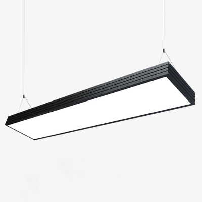 Modern Lighting Acrylic Lampshade LED Large Pendant Light Rectangular Led Chandelier in Black, 48