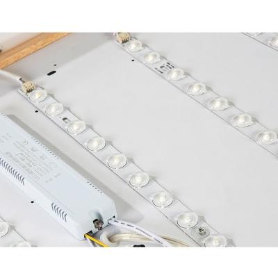 Modern Lighting Rectangular Led Chandelier Wooden Black Linear Led Pendant Lights 20W/48W/60W with Diamond Decoration