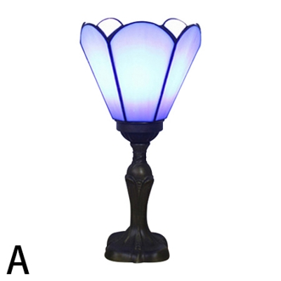 "Image of ""11.42"""" High Tiffany Stained Glass Torchiere Table Lamp for Bedroom Restaurant 3 Designs for Option"""