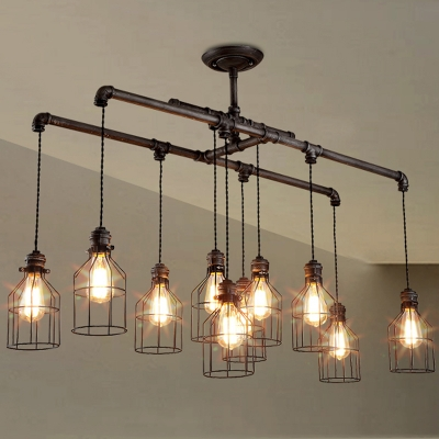 Weathered Iron 10 Light Linear Chandelier with Bird Cage for Bar Counter Restaurant Kitchen Island