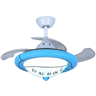 Contemporary Style Sports Theme Ceiling Fan with Frosted Glass Shade 42