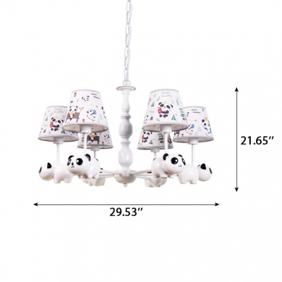 Cartoon Panda Design Suspension Light Kids 3/5 Lights Lighting Fixture with Fabric Shade in White Finish