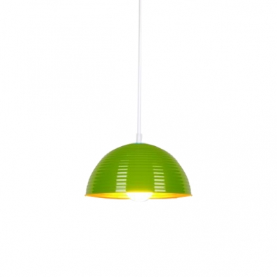 Contemporary 1 Light Downrod Pendant Light Fixture in Ripple Design with Dome Shade Various Colors for Option