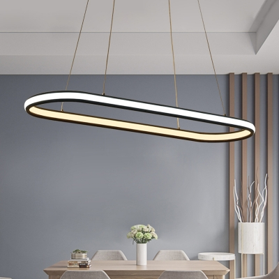 Decorative Modern Lighting Oval Shaped Black Acrylic Led Pendant Light 20 31w 48