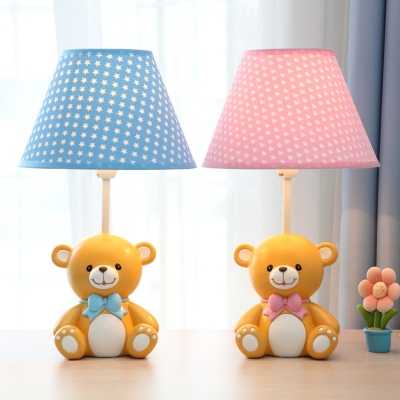 Tapered 1 Head Standing Table Lamp with Bear/Elephant Base Blue/Pink Fabric Shade Reading Light for Kindergarten