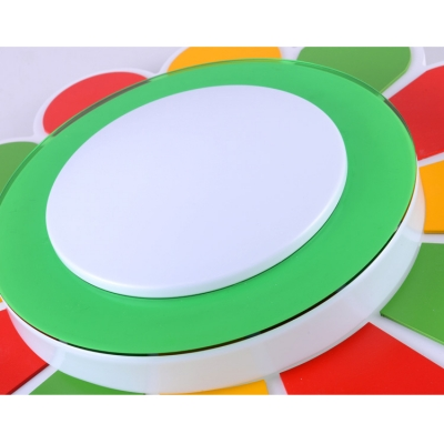Cute Acrylic Flush Mount with Flower Shape Multi Color Lighting Fixture for Kindergarten Baby Room