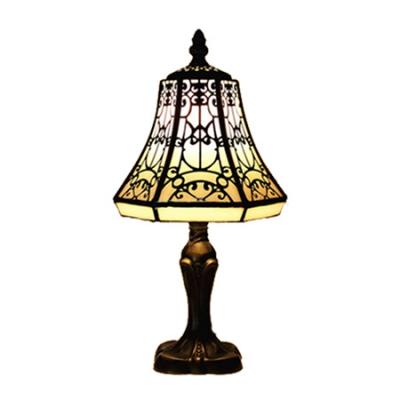 Classic Tiffany Glass Shade Table Lamp with Graceful Black Motif